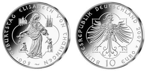 10 Euro Gedenkmünze Elisabeth Von Thüringen Deutschland 2007
